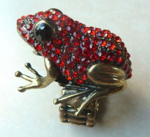 Quirky Large Red Frog Adjustable Ring